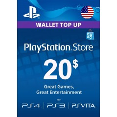 Carte PSN 20$ Playstation Store PS4/PS3/PS Vita Compte US en Tunisie