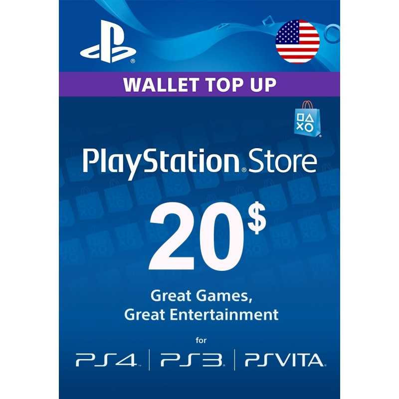 Carte PSN 20$ Playstation Store PS4/PS3/PS Vita Compte US - CARTES PSN - gamezone
