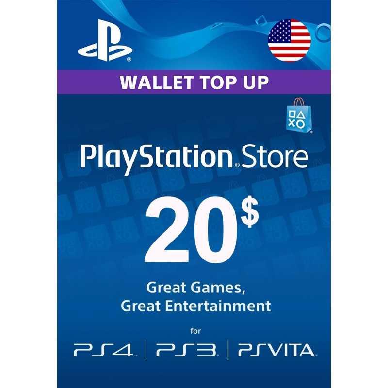 Carte PSN 20$ Playstation Store PS5/PS4/PS3/PS Vita Compte US - CARTES PSN - gamezone