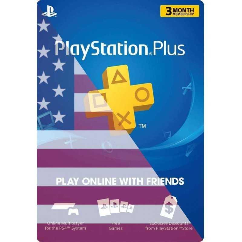 PLAYSTATION PLUS: ABONNEMENT DE 3 MOIS Compte US - CARTES PSN - gamezone