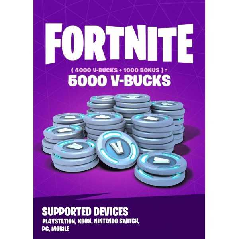 Fortnite - 5000 V-Bucks Gift Card Playstation, Xbox, Nintendo Switch, PC, Mobile - CARTES PSN - gamezone